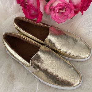 Frye Gold Leather Slip Ons
